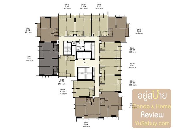 Floor Plan คอนโด Ideo Q ราชเทวี ชั้น 9-24