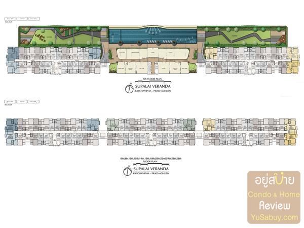 ผังโครงการชั้น 5 และ Typical Floor Plan