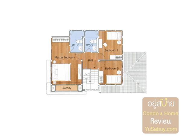 แบบบ้านเดี่ยว Classy พื้นที่ใช้สอย 178 ตร.ม. (ชั้น 2)