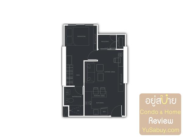 แปลนคอนโด Urbano Absolute แบบ 1 ห้องนอน 38 ตารางเมตร