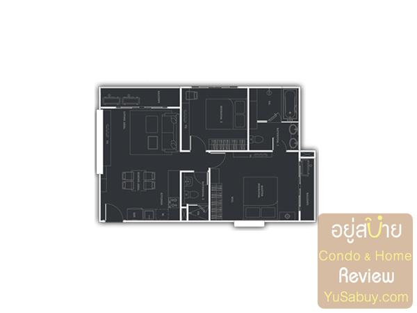 แปลนคอนโด Urbano Absolute แบบ 2 ห้องนอน 74.5 ตารางเมตร
