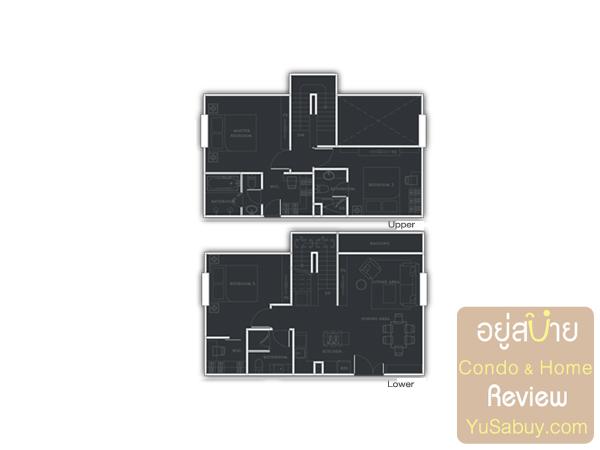 แปลนคอนโด Urbano Absolute แบบ Duplex