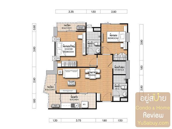 แปลนคอนโดศุภาลัย เวอเรนด้า รัชวิภา-ประชาชื่น (Supalai Veranda) แบบ 2 ห้องนอน Famoly Suite ขนาด 70.5 ตารางเมตร