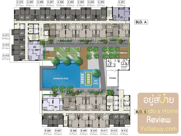 Floor Plan คอนโด The Niche Mono (เดอะนิช โมโน รัชวิภา) ชั้น 4