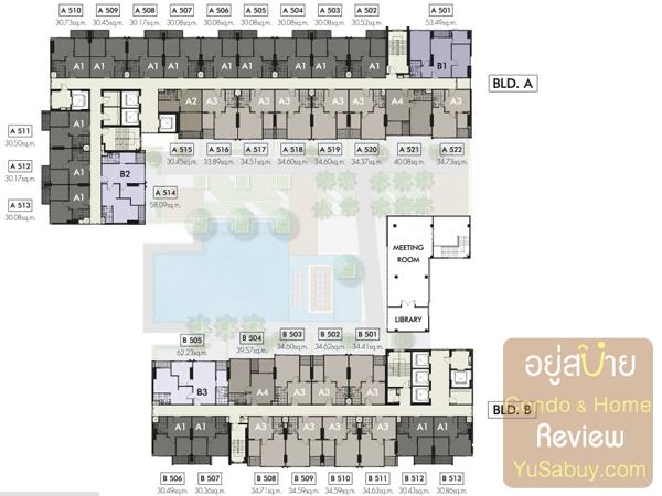 Floor Plan คอนโด The Niche Mono (เดอะนิช โมโน รัชวิภา) ชั้น 5