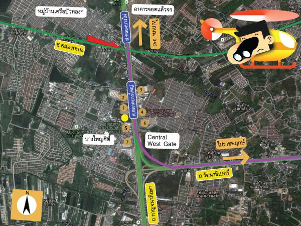 แผนที่และตำแหน่งสภาพแวดล้อมรอบๆโครงการ Plum Condo Bangyai Station (พลัมคอนโด บางใหญ่สเตชั่น)