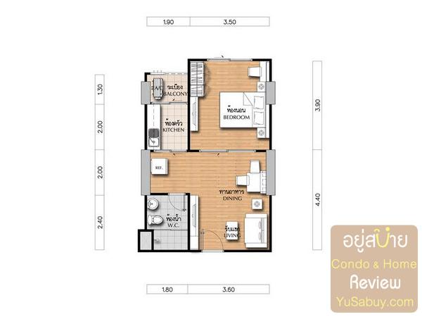 แปลนคอนโดศุภาลัย เวอเรนด้า รัชวิภา-ประชาชื่น (Supalai Veranda) แบบ 1 ห้องนอน ขนาด 44 ตารางเมตร