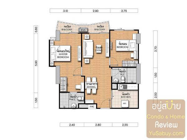 แปลนคอนโดศุภาลัย เวอเรนด้า รัชวิภา-ประชาชื่น (Supalai Veranda) แบบ 2 ห้องนอน ขนาด 60.5 ตารางเมตร