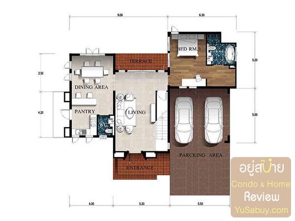 แปลนบ้านเดี่ยว Nusa Chivani (ณุศา ชีวานี่ พัทยา) แบบ Athena ชั้น 1