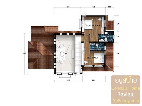 แปลนบ้านเดี่ยว Nusa Chivani (ณุศา ชีวานี่ พัทยา) แบบ Athena ชั้น 2