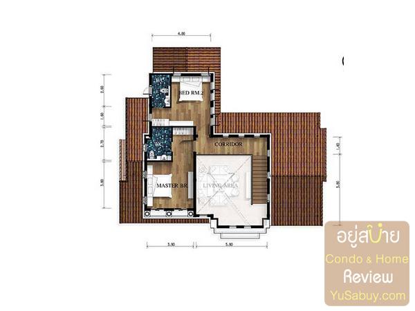 แปลนบ้านเดี่ยว Nusa Chivani (ณุศา ชีวานี่ พัทยา) แบบ Zeus ชั้น 2