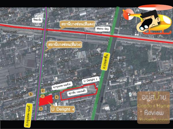 แผนที่และสถานที่รอบๆคอนโด U Delight 4 (ยู ดีไลท์ 4)