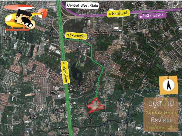แผนที่และการเดินทางไปโครงการ Pruksa Lite Lox (พฤกษา ไลท์ ล็อกซ์ รัตนาธิเบศร์)
